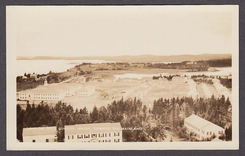 Looking over Quoddy ME toward Mainland RPPC postcard 1930s