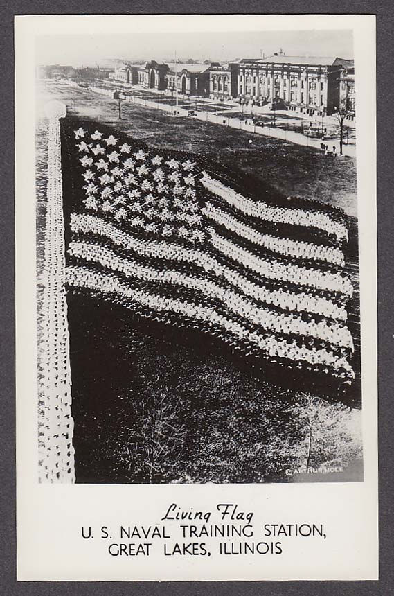 Living Flag US Naval Training Station Great Lakes IL RPPC postcard 1940s