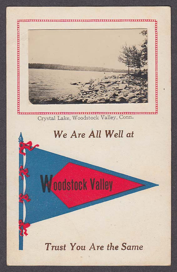 Crystal Lake Woodstock Valley CT mounted RPPC postcard 1910s