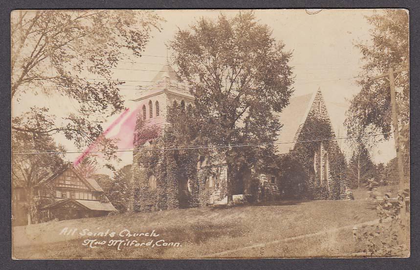 All Saints Church New Milford CT RPPC postcard 1920s