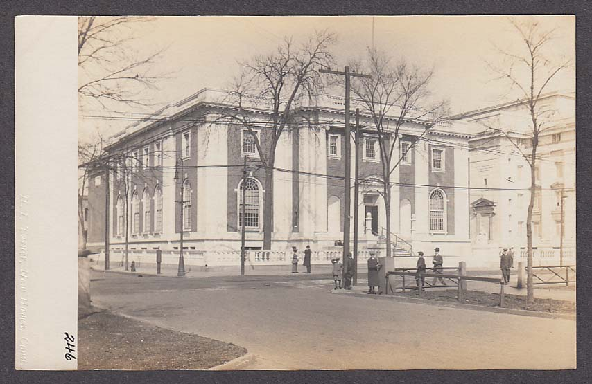 Library New Haven CT RPPC postcard 1910s