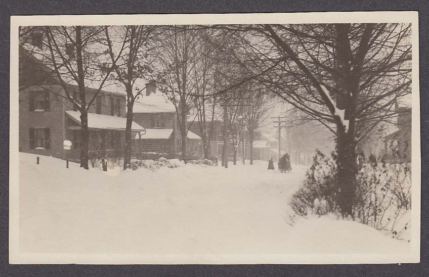 Snowy Winter Scene on School Street South Manchester CT RPPC postcard 1930s