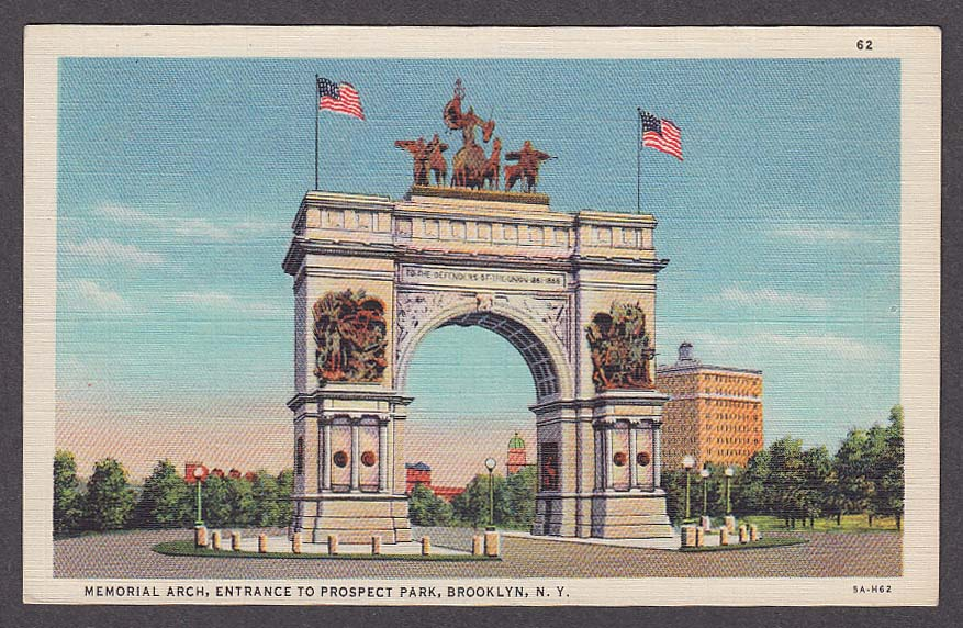 Image for Memorial Arch Entrance to Prospect Park Brooklyn NY postcard 1930s