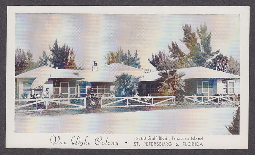 Image for Van Dyke Colony 12700 Gulf Blvd Treasure Island St Petersburg FL postcard 1950s
