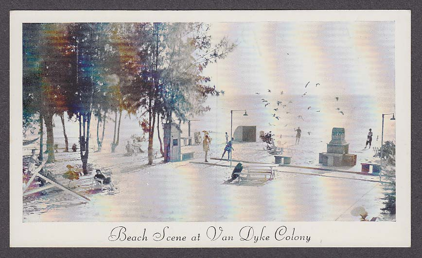 Image for Beach Scene at Van Dyke Colony 12700 Gulf Blvd Treasure Island FL postcard 1950s