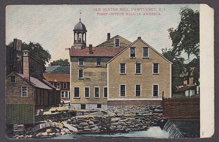 Image for Old Slater Cotton Mill Pawtucket RI 1st in America undivided back postcard 1900s