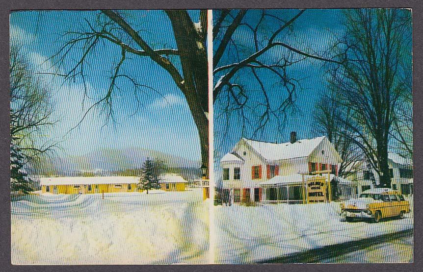 Image for 1955 Ford at Palmer House Ski Lodge & Motel Manchester Center VT postcard 1950