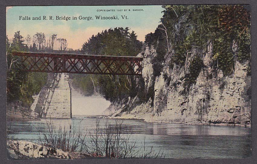 Image for Falls & Railroad Bridge in Gorge Winooski VT postcard 1920s