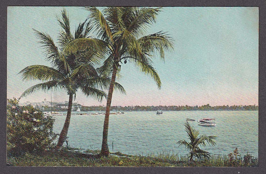 Image for West Palm Beach FL Lake Worth postcard 1920s
