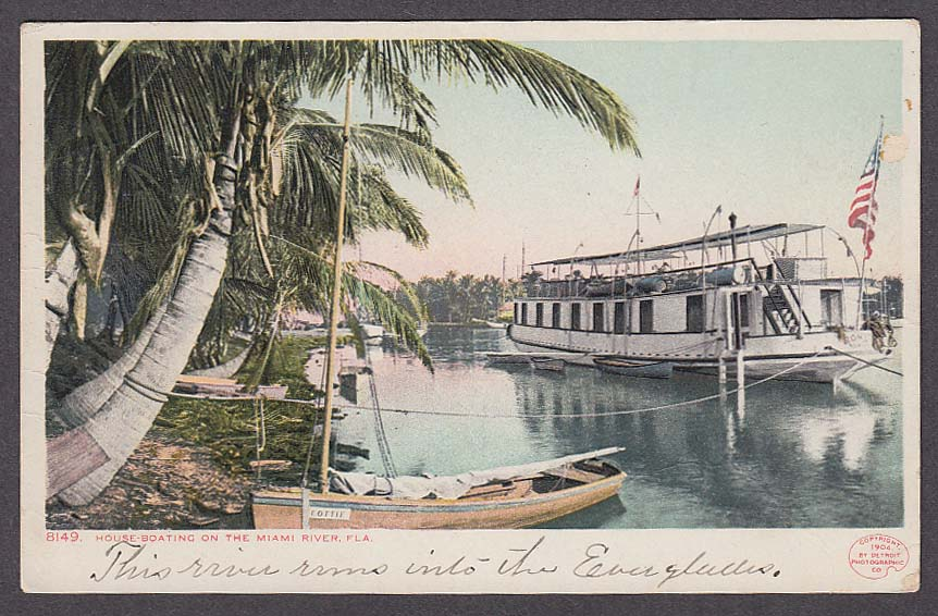 Image for House-Boating on the Miami River FL undivided back postcard 1904