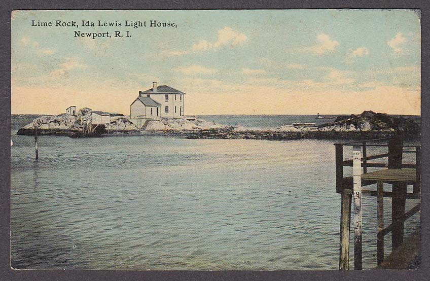 Image for Lime Rock Ida Lewis Light House Newport RI postcard 1910s