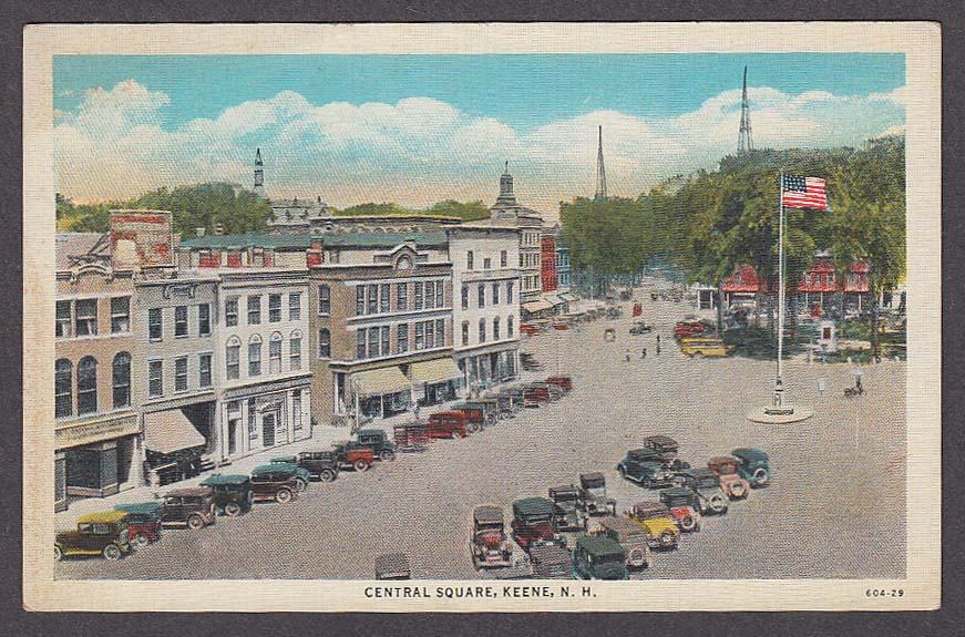 Image for Central Square Keene NH postcard 1930s