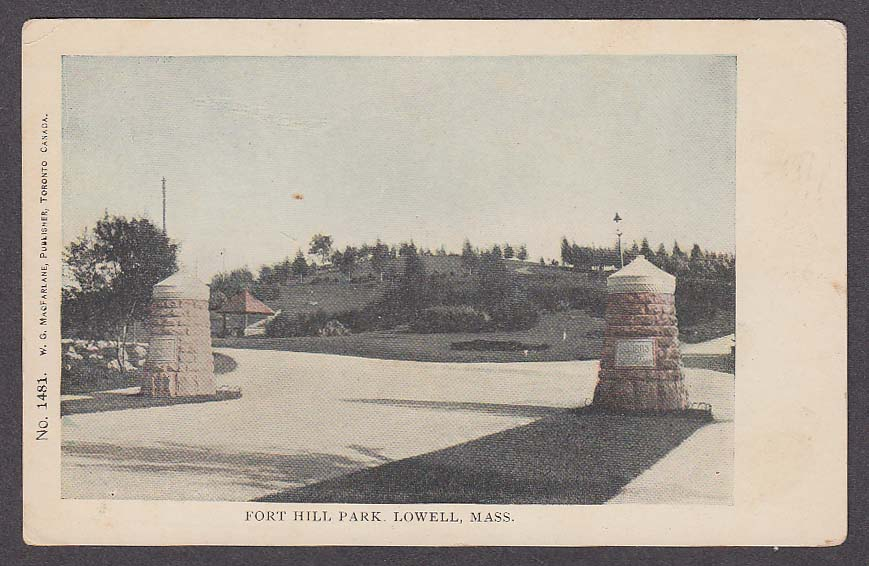 Image for Fort Hill Park Lowell MA undivided back postcard 1900s