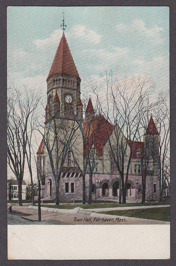 Image for Town Hall Fairhaven MA undivided back postcard 1900s