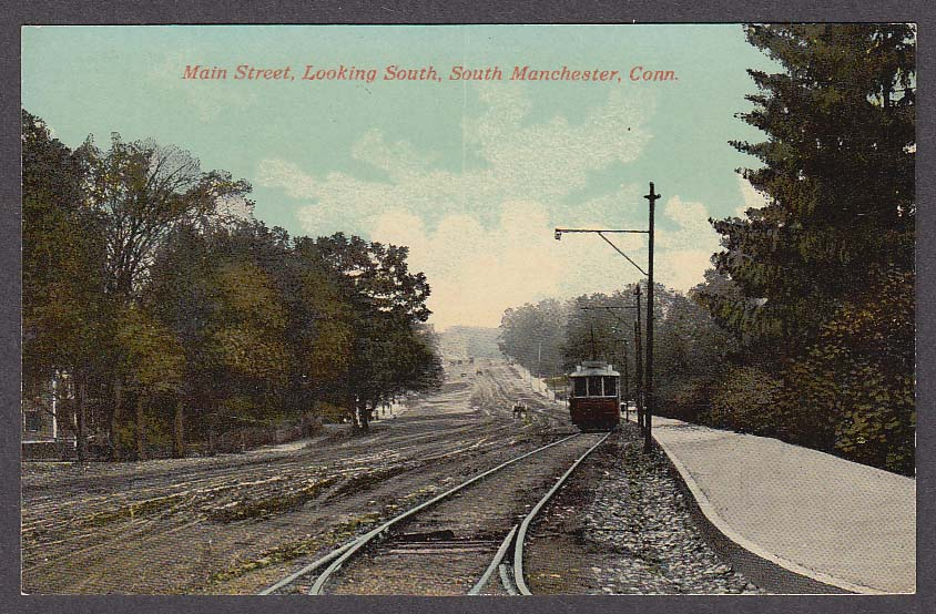 Image for Main Street looking south South Manchester CT postcard 1910s