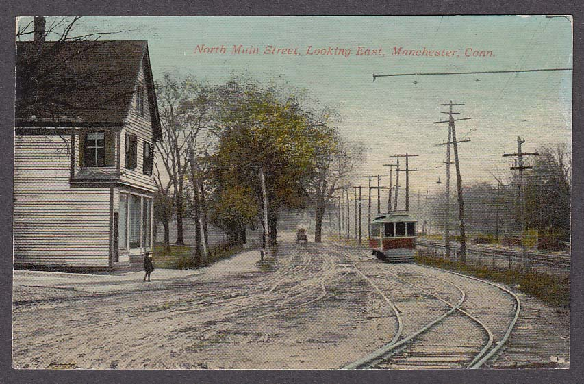 Image for North Main Street looking east Manchester CT postcard 1910s