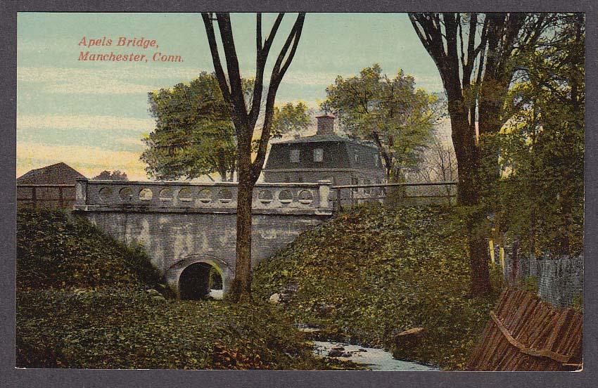 Image for Apels Bridge Manchester CT postcard 1910s