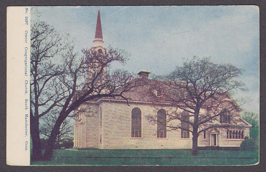 Image for Center Congregational Church South Manchester CT undivided back postcard 1900s
