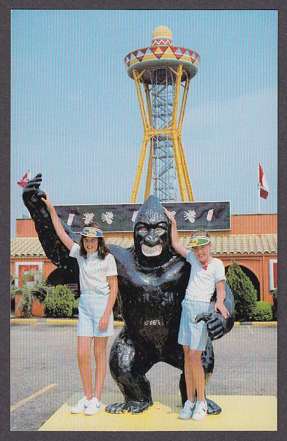 Image for Girls & Ape Statue at South of the Border Restaurant SC postcard 1970s