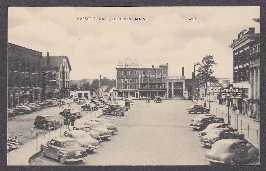 Image for Temple Theatre Houlton Furniture Co Market Square Houlton ME postcard 1950s