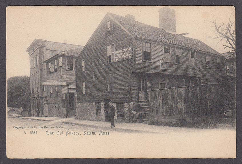 Image for Horace E Coffin Cabinet Work & Old Bakery Salem MA undivided back postcard 1900s