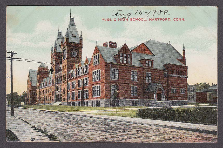 Image for Public High School Hartford CT postcard 1900s