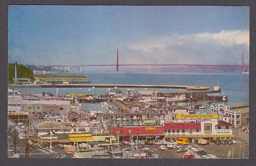 Image for Golden Gate Bridge & Fisherman's Wharf San Francisco CA postcard 1950s
