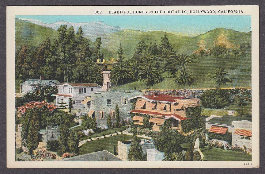 Image for Beautiful Homes in the Foothills Hollywood CA postcard 1920s