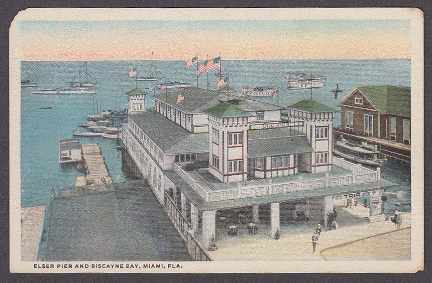 Image for Elser Pier & Biscayne Bay Miami FL postcard 1920s