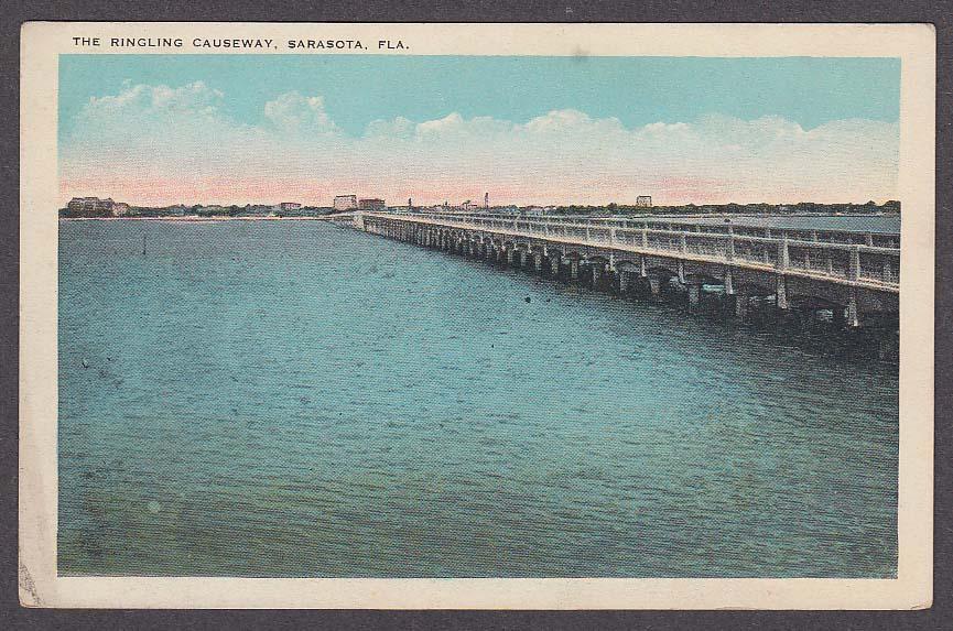Image for The Ringling Causeway Sarasota FL postcard 1920s