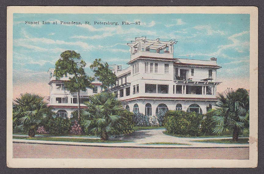 Image for Sunset Inn at Pasadena St Petersburg FL postcard 1910s