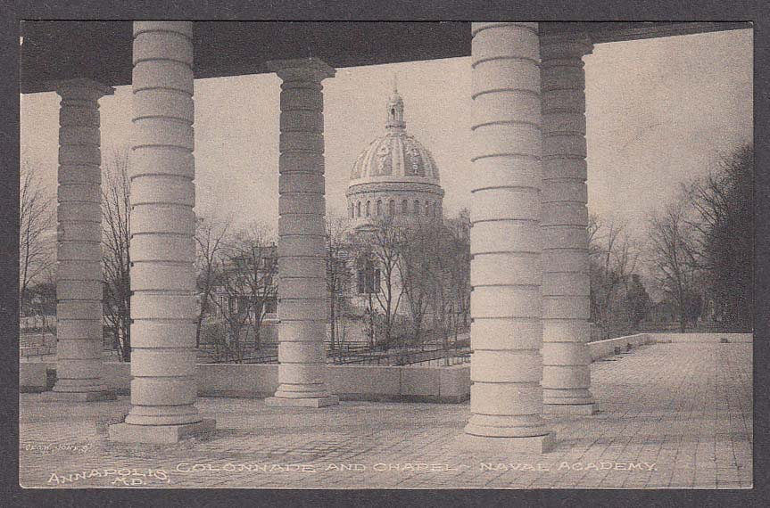 Image for Colonnade & Chapel Naval Academy Annapolis MD postcard 1910s