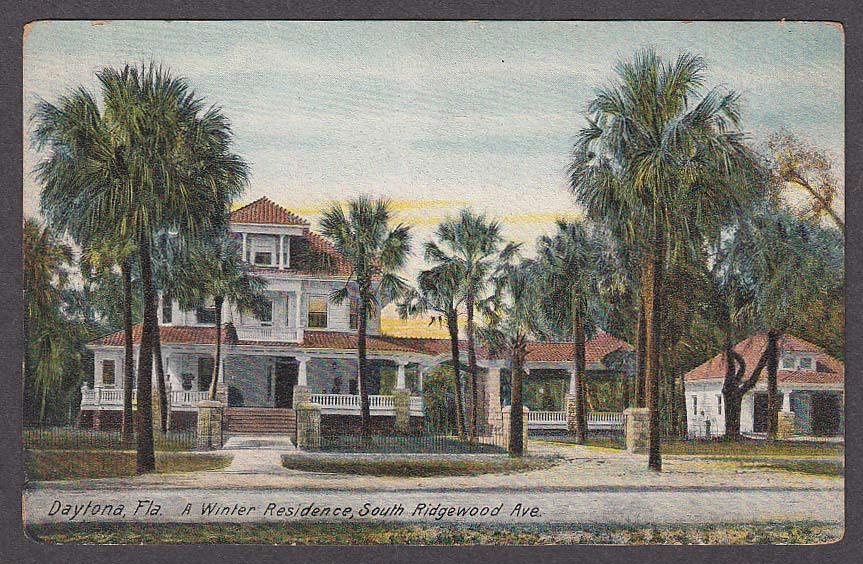 Image for Winter Residence South Ridgewood Ave Daytona FL postcard 1910s