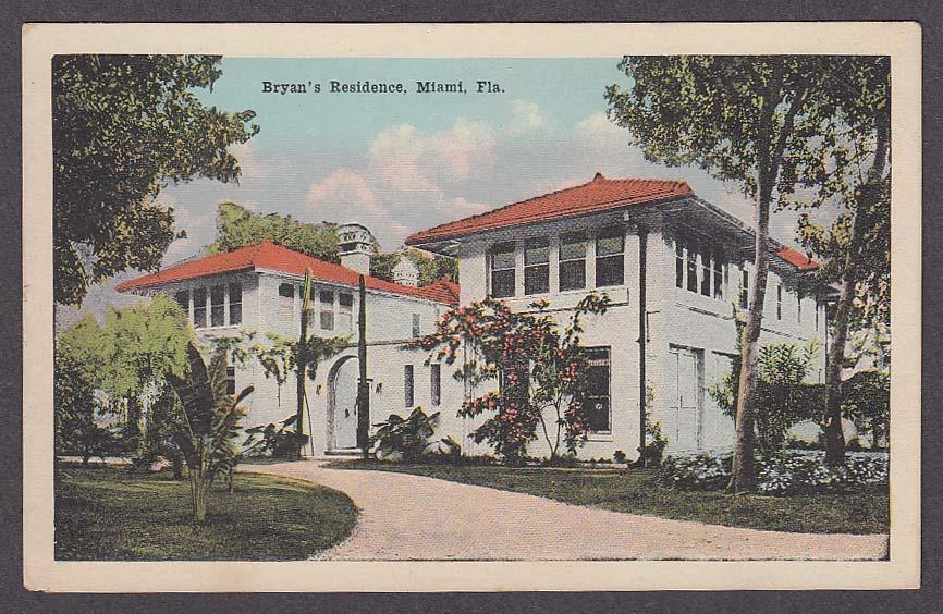 Image for Bryan's Residence Miami FL postcard 1910s