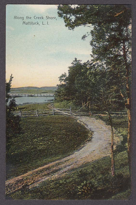 Image for Along the Creek Shore Mattituck Long Island NY postcard 1920s