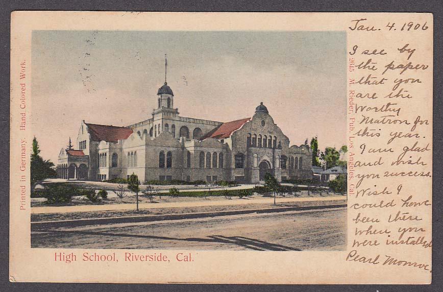 Image for High School Riverside CA undivided back postcard 1906
