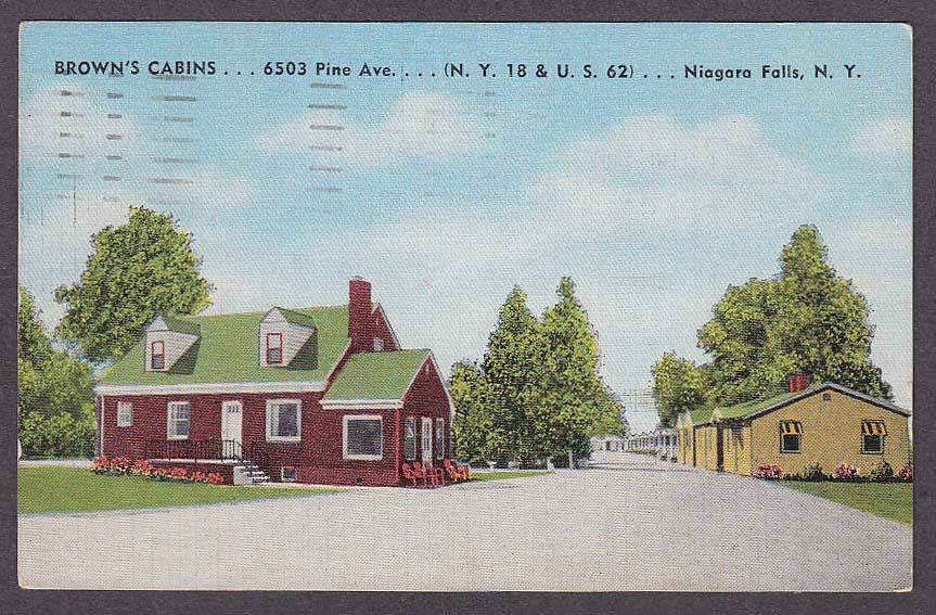 Image for Brown's Cabins 6503 Pine Ave Niagara Falls NY postcard 1952