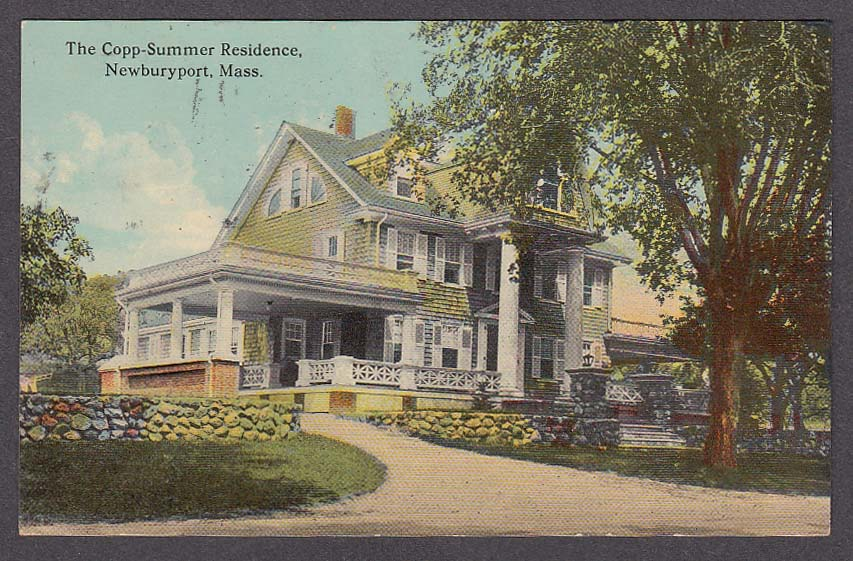 Image for The Copp-Summer Residence Newburyport MA postcard 1916