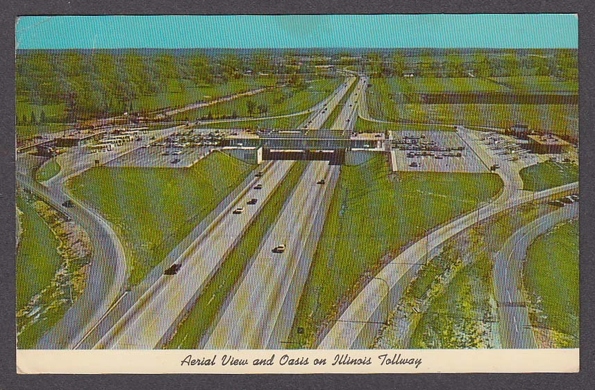 Image for Aerial View and Oasis on Illinois Tollway IL postcard 1969