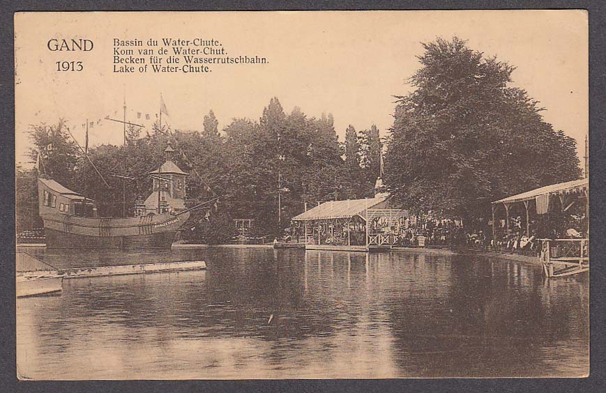 Image for Lake of Water-Chute International Exhibition Ghent Belgium postcard 1913