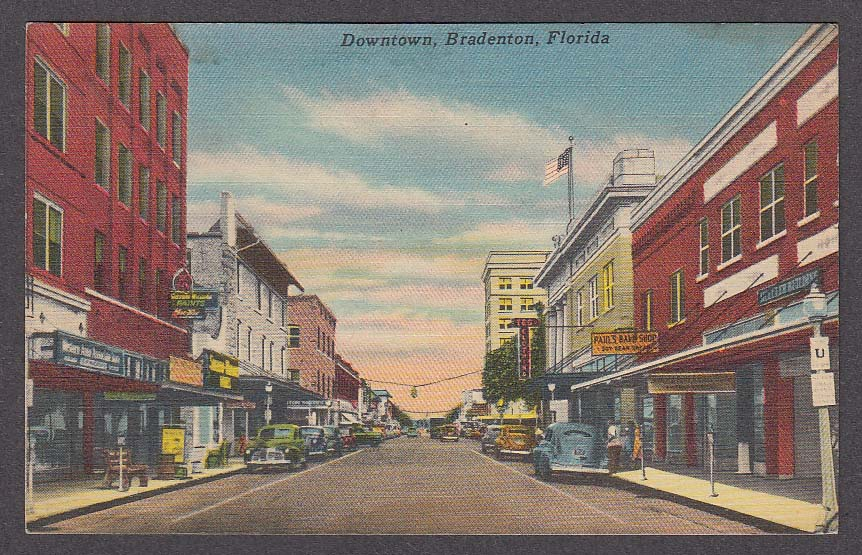 Image for Paul's Bake Shop T&G Clothing Downtown Bradenton FL postcard 1954