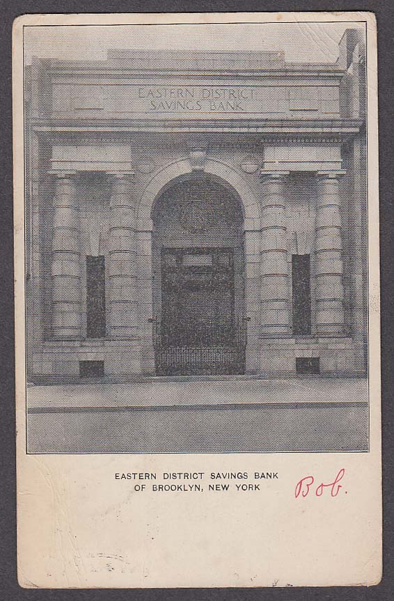 Image for Eastern District Savings Bank of Brooklyn NY undivided back postcard 1907