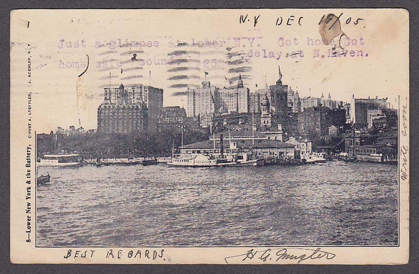 Image for Lower New York & the Battery NY undivided back postcard 1905