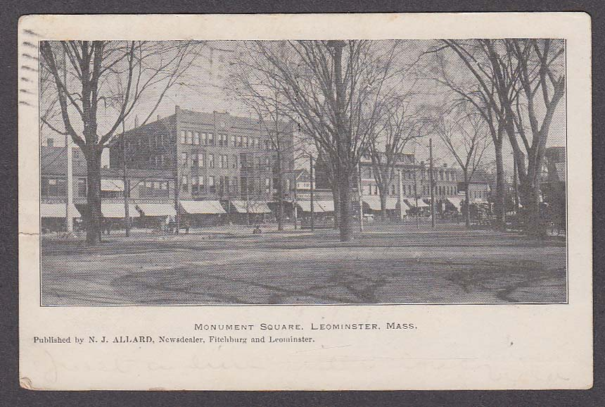 Image for Monument Square Leominster MA undivided back postcard 1905