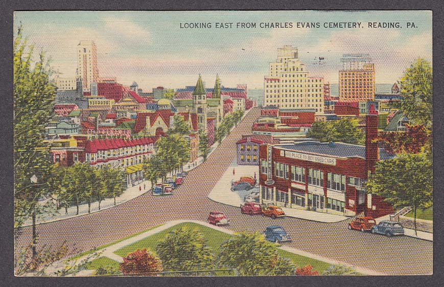 Image for Looking East from Charles Evans Cemetery Reading PA postcard 1941