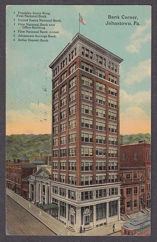 Image for Bank Corner Johnstown PA postcard 1913 Franklin Street Wing First National +