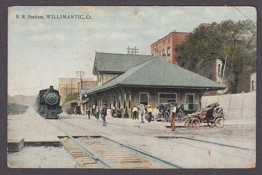 Image for Railroad Station Willimantic CT postcard 1920