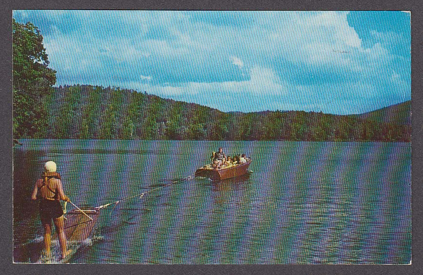 Image for Water skiing at Jimmy's Crystal Lake Rockville CT postcard 1963