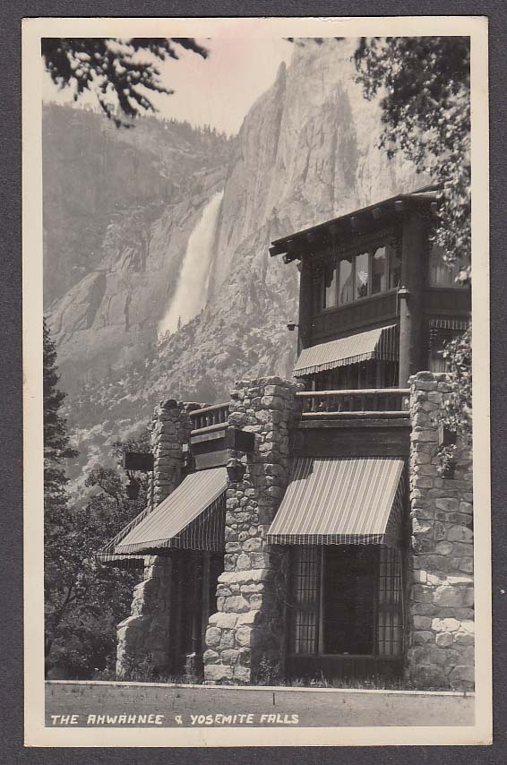 Image for The Ahwahnee & Yosemite Falls CA RPPC postcard 1951