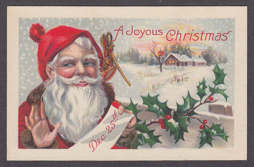 Image for Santa Claus Joyous Christmas snow house holly berries postcard 1910s